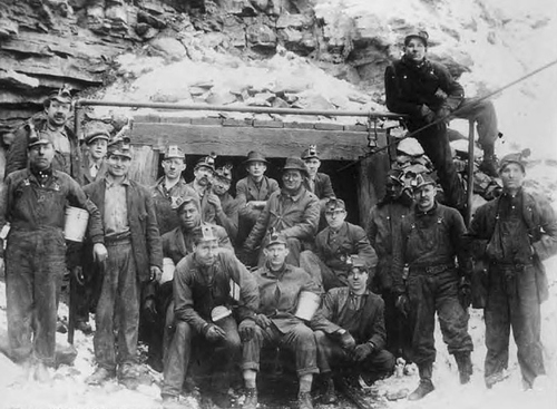 Photo courtesy of Utah State Historical Society Miners outside of Castle Gate Mine, a few days before the explosion that killed 172 men and left 417 dependents.