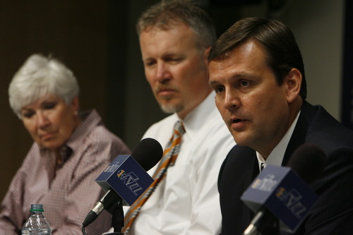 Francisco Kjolseth  |  The Salt Lake Tribune  Jazz general manager Dennis Lindsey (right) sees asset accumulation through the draft as a way to build star power for the team.