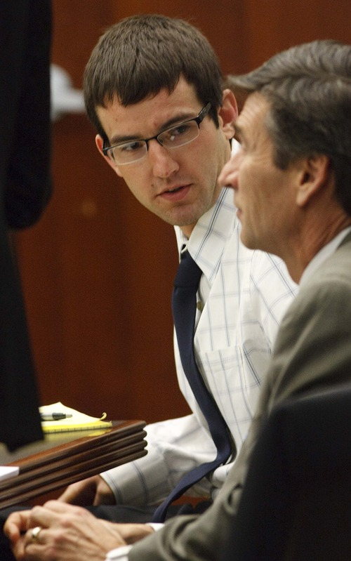 Leah Hogsten  |  The Salt Lake Tribune Colton Raines, above, with defense attorney Greg Skordas took the stand Thursday, Feb. 14, 2013, as their trial continued in Ogden's 2nd District Courthouse with Judge Ernie Jones presiding. Boyer and Raines are two of three men charged in a boating accident last summer on Pineview Reservoir that killed swimmer Esther Fujimoto.