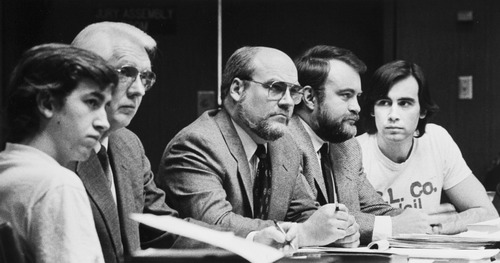 Tribune file photo by Lynn R. Johnson  Jonathan Swapp (left) and Addam Swapp (right) with their attorneys during their 1988 trial.