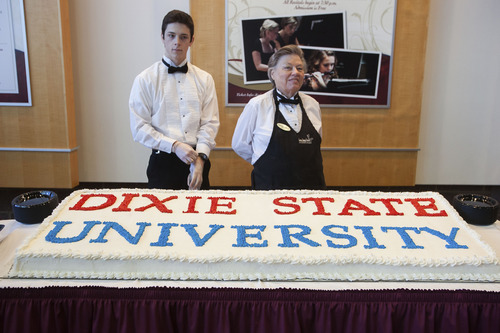 Trevor Christensen / The Spectrum & Daily News A cake is part of a celebration at the signing of a bill into law transforming Dixie State College into a university. The ceremony was held at the school's Eccles Fine Arts Center in St. George, Utah on Saturday, Feb. 16, 2013.