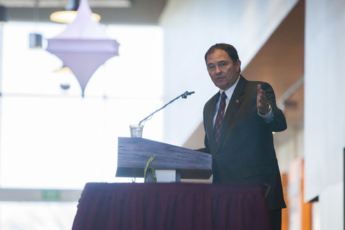 Trevor Christensen / The Spectrum & Daily News Utah Gov. Gary Herbert speaks at an event to celebrate the signing of a bill into law transforming Dixie State College into a university inside the school's Eccles Fine Arts Center, in St. George, Utah on Saturday, Feb. 16, 2013.