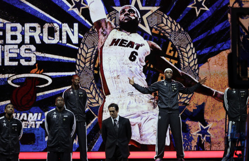 East Team is introduced before the NBA All-Star basketball game Sunday, Feb. 17, 2013, in Houston. (AP Photo/Eric Gay)