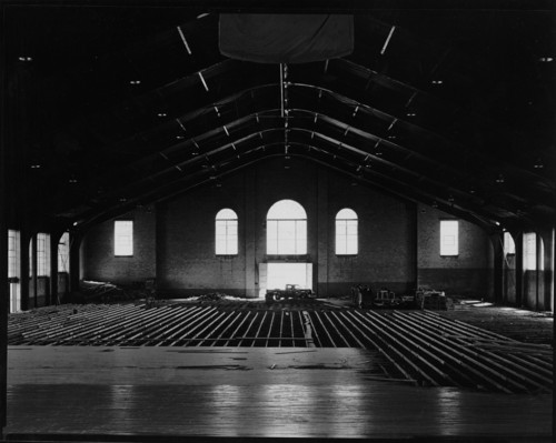 Courtesy Special Collections, Marriott Library, University of Utah Construction work on the interior of Einar Nielsen Fieldhouse at the University of Utah.