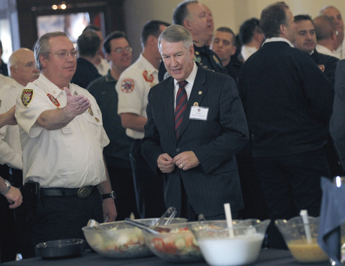 Al Hartmann  |  The Salt Lake Tribune Sen. John Valentine, R-Orem, center, is invited to a lunch buffet with members of the Provo Fire Department at the Utah Fire Caucus Luncheon on Monday February 11.
