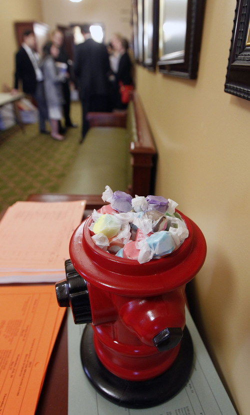Al Hartmann  |  The Salt Lake Tribune One can't go far without seeing the red fire department hydrants full of salt water taffy from the Utah Firefighters Association in hallways at the Utah Legislature. They are free for everyone.