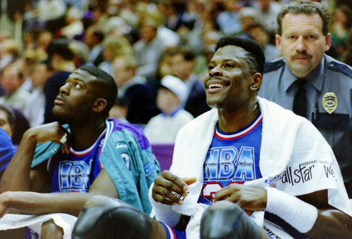 Steve Griffin  |  The Salt Lake Tribune Eastern Conference All-Stars Larry Johnson and Patrick Ewing take a breather on the bench during the 1993 NBA All-Star Game at the Delta Center in Salt Lake City.
