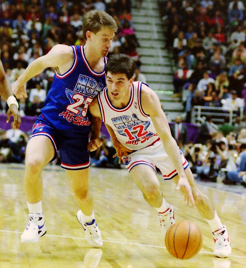 Steve Griffin  | The Salt Lake Tribune   John Stockton, drives with the ball as Mark Price defends, during the 1993 All Star Game at the Delta Center in Salt Lake City, Saturday, February 21, 1993.
