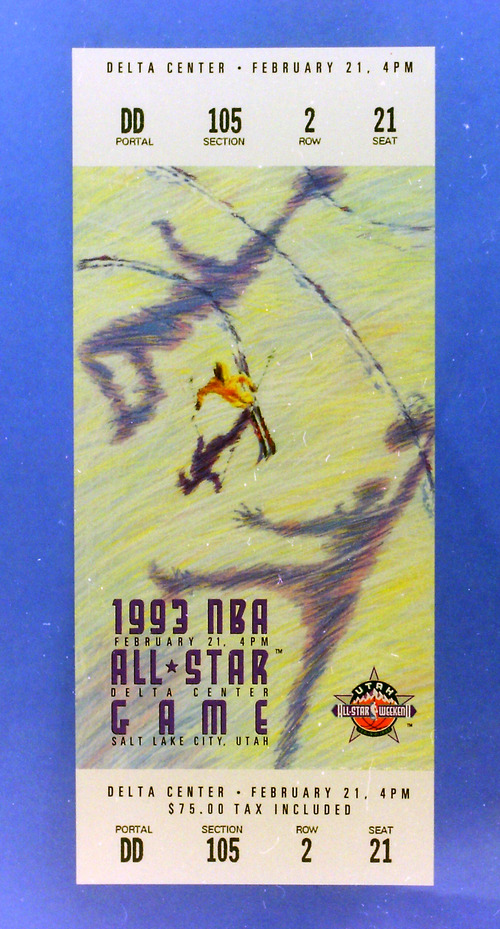 Steve Griffin  | The Salt Lake Tribune   Ticket to the 1993 All Star Game at the Delta Center in Salt Lake City, Saturday, February 21, 1993.