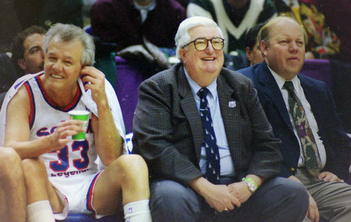 Steve Griffin  | The Salt Lake Tribune   Hot Rod Hundley, Frank Layden, and Larry Miller, during the Legends game during the 1993 All Star festivities, in the Delta Center in Salt Lake City, Saturday, February 20, 1993.