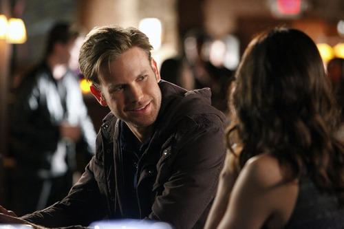 "Courtesy photo Matt Davis as Alaric Saltzman and Torrey DeVitto as Dr. Fell in ""The Vampire Diaries"" on The CW."