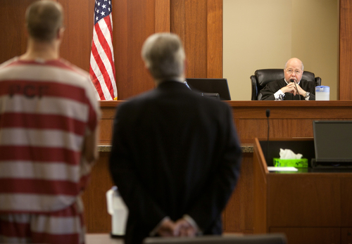 Judge James L. Shumate, right, confirms that Paul Ashton, left, has agreed to waive his preliminary hearing with Ashton and his defense attorney Douglas Terry, at the 5th District Courthouse Tuesday, Feb. 19, 2013 in St. George, Utah.(AP Photo/The Spectrum & Daily News,  Jud Burkett)