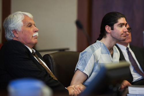 Defense Attorney Gary Pendleton, murder suspect Brandon Smith and Private Investigator Todd Gubler during a hearing in Smith's aggravated murder case in 5th District Court in St. George, Utah, on Tuesday, Feb. 19, 2013.