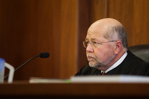 Judge James Shumate during a hearing for murder suspect Brandon Smith in 5th District Court in St. George, Utah, on Tuesday, Feb. 19, 2013.