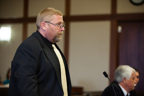 Deputy County Attorney Brian Filter addresses Judge James Shumate during a hearing for murder suspect Brandon Smith in 5th District Court in St. George, Utah, on Tuesday, Feb. 19, 2013.
