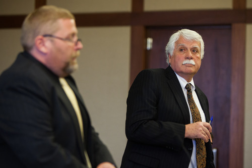 Deputy County Attorney Brian Filter and Defense Attorney Gary Pendleton during a hearing for murder suspect Brandon Smith in 5th District Court in St. George, Utah, on Tuesday, Feb. 19, 2013.