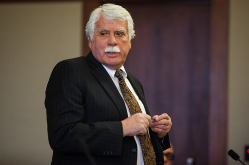 Defense Attorney Gary Pendleton addresses Judge James Shumate during a hearing for murder suspect Brandon Smith in 5th District Court in St. George, Utah, on Tuesday, Feb. 19, 2013.