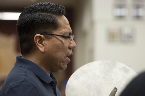 Kim Raff  |  The Salt Lake Tribune A.J. Kanip performs during a Round Dance, organized by members of the Ute Indian Tribe, at Uinta River High School in Fort Duchesne on Feb. 9, 2013.
