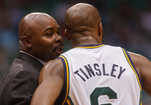 Tribune file photo Jazz assistant coach Sidney Lowe talks to  guard Jamaal Tinsley during a game in October in Salt Lake City.