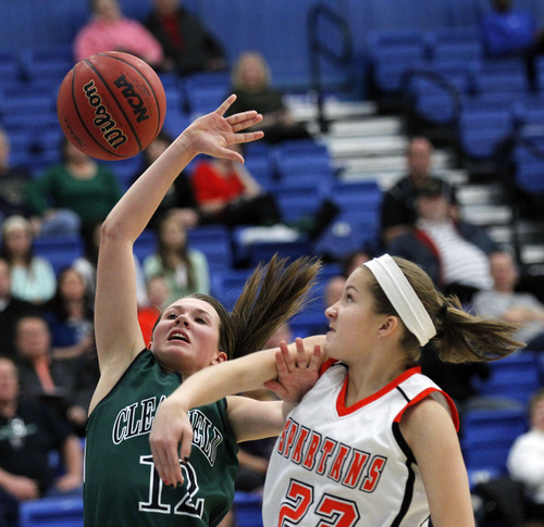 Al Hartmann     The Salt Lake Tribune Clearfield High School's Bailey Douglas has a play broken up by  Murray High School's Cassidy Howe during a Girl's 4A play off game at Salt Lake Community College Tuesday, February 19.