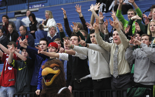 Al Hartmann     The Salt Lake Tribune Clearfield High School's students and mascot cheer for their team against Murray High School during a Girl's 4A play off game at Salt Lake Community College Tuesday, February 19.