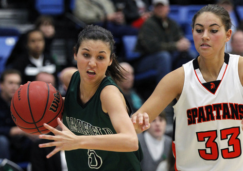 Al Hartmann     The Salt Lake Tribune Clearfield High School's Saige Marsh brings the ball up court with Murray High School's Lauren Bell in pursuit during a Girl's 4A play off game at Salt Lake Community College Tuesday, February 19.