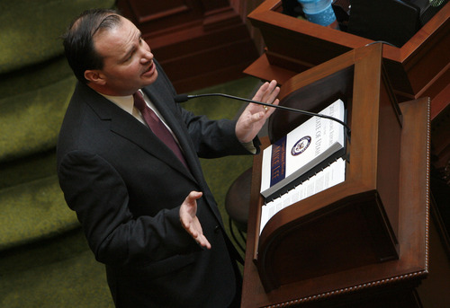 Francisco Kjolseth  |  The Salt Lake Tribune Sen. Mike Lee, R-Utah, visits the House of Representatives on Tuesday, Feb. 19, 2013, as he touches on a few key issues and mentions his 2012 Annual Report to the state before taking a few questions.