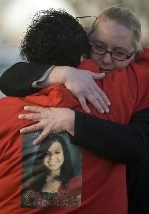 Kim Raff  |  The Salt Lake Tribune Inez Lucero, aunt of shooting victim Danielle Lucero, is comforted Sunday by family friend Danielle Miller during a candlelight vigil outside the Midvale home where the fatal shooting occurred.