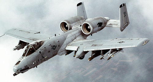 An A-10 military aircraft similar to this one made an emergency landing Wednesday at the Carbon County Airport. (Wikipedia Commons photo)