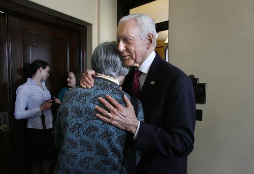 Scott Sommerdorf   |  The Salt Lake Tribune Sen. Orrin Hatch, R-Utah, hugs homeless advocate Pamela Atkinson after leaving a speaking engagement in the Utah State Senate, Wednesday, February 20, 2013.