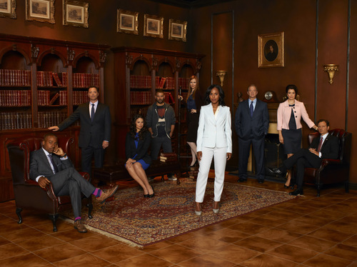 """""""Scandal"""" stars Columbus Short as Harrison Wright, Joshua Malina as David Rosen, Katie Lowes as Quinn Perkins, Guillermo Diaz as Huck, Darby Stanchfield as Abby Whelan, Kerry Washington as Olivia Pope, Jeff Perry as Cyrus Beene, Bellamy Young as Mellie Grant and Tony Goldwyn as President Fitzgerald Grant."""