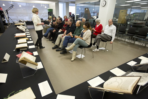 Lennie Mahler  |  The Salt Lake Tribune Luise Poulton, Curator and Head of Rare Books at the Marriott Library, introduces a group of local astronomers to a collection of first edition ancient astronomy books at the library