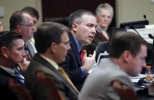 Al Hartmann  |  The Salt Lake Tribune Rep. Daniel McKay, R-Salt Lake, speaks at the House Education Committee in discussion of HB134 that would require parental notification when a student has been involved in a threat of suicide or violence.