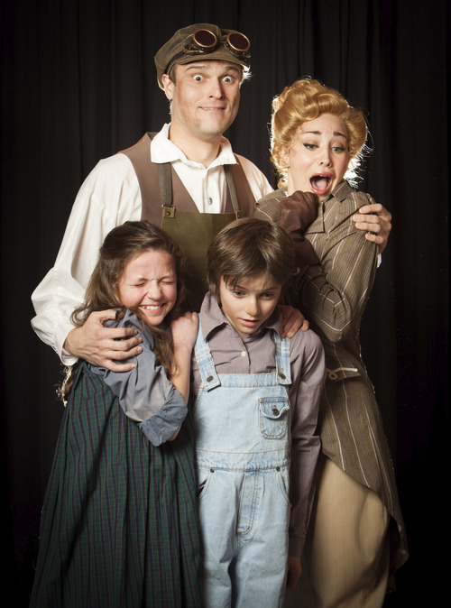 """Courtesy photo David Smith, Megan Heaps, Abigail Edwards and Will Breinholt in Hale Centre Theatre's production of """"Chitty Chitty Bang Bang."""""""