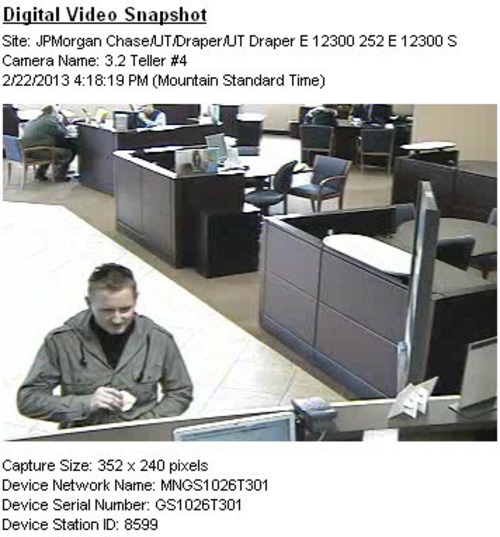Surveillance footage of a man suspected of robbing a Chase Bank in Draper. Courtesy Draper Police Dept.