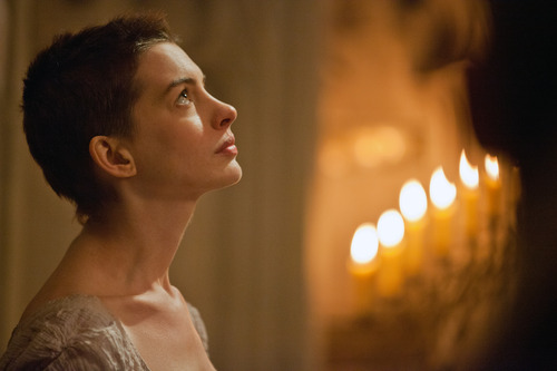 "FILE - This film image released by Universal Pictures shows actress Anne Hathaway portraying Fantine, a struggling, sickly mother forced into prostitution in 1800s Paris, in a scene from the screen adaptation of ""Les Miserables.""  Hathaway is nominated for an Academy Award for supporting actress for ""Les Miserables."" The 85th Academy Awards are held in Los Angeles on Sunday, Feb. 24. (AP Photo/Universal Pictures, Laurie Sparham, file)"