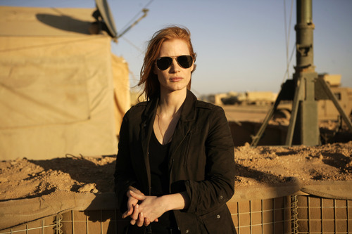 """FILE - This undated publicity film image provided by Columbia Pictures Industries, Inc. shows Jessica Chastain in""""Zero Dark Thirty.""""  (AP Photo/Columbia Pictures Industries, Inc., Jonathan Olley, File)"""