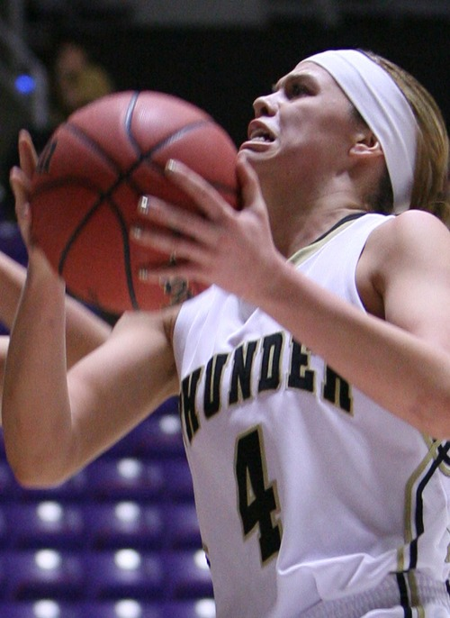 Leah Hogsten  |  The Salt Lake Tribune Desert Hills' Blair Bliss  had 20points in the game. Desert Hills High School defeated Snow Canyon High School 40-30 during their 3A Utah High School Girls Basketball semifinal matchup at Weber State University, February 22, 2013.