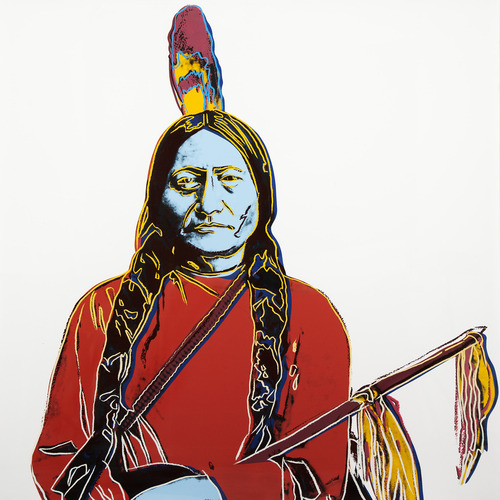 "Andy Warhol's ""Sitting Bull,"" a 1986 screen print that's part of ""Bierstadt to Warhol: American Indians in the West."" The latest exhibit at the Utah Museum of Fine Arts includes a variety of work from diverse artists, including Albert Bierstadt, Joseph Sharp, Andy Warhol and others. The exhibit opens Feb. 15 and runs through Aug. 11, on the University of Utah campus. Courtesy photo"