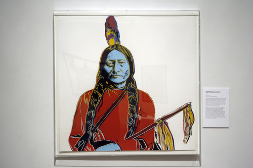 "Francisco Kjolseth  |  The Salt Lake Tribune Andy Warhol (American, 1928-1987) Cowboys and Indians: Sitting Bull, 1986 Screen print. ""Bierstadt to Warhol: American Indians in the West"" is the Utah Museum of Fine Arts' new exhibit including a variety of work from diverse artists, including Albert Bierstadt, Joseph Sharp, Andy Warhol, Shonto Begay and others. The exhibit opens Feb. 15 and runs through Aug. 11, on the University of Utah campus."