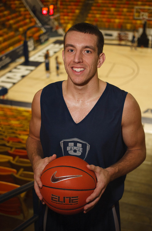 Trent Nelson  |  The Salt Lake Tribune Utah State's Spencer Butterfield, a junior guard, has become a leader for the team. Thursday, February 21, 2013 in Logan.