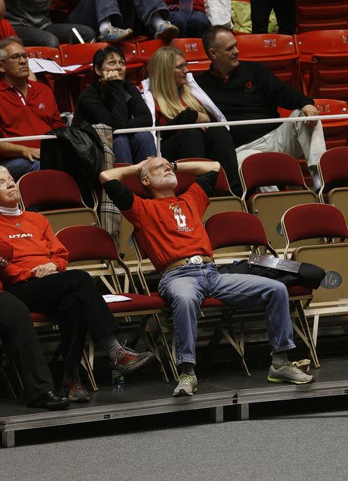Scott Sommerdorf   |  The Salt Lake Tribune University of Utah President David W. Pershing watches Utah beat Washington 60-46, Friday, February 22, 2013.