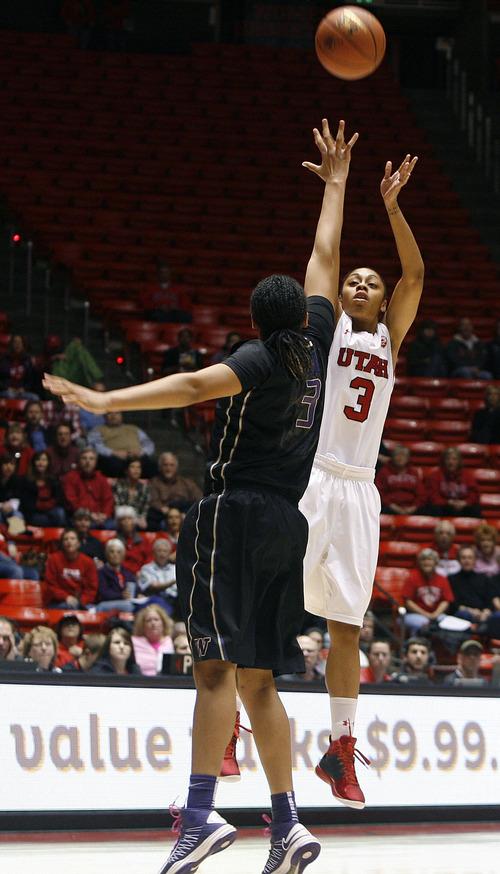 Scott Sommerdorf   |  The Salt Lake Tribune Utah's Iwalani Rodrigues shoots for two of her 17 points as Utah beat Washington 60-46, Friday, February 22, 2013.
