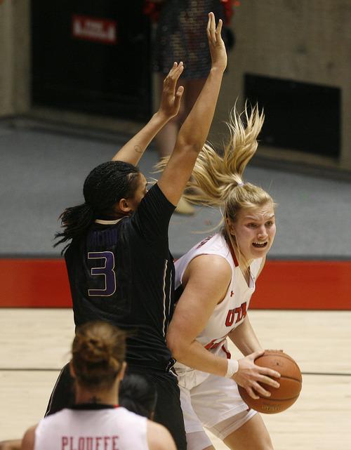 Scott Sommerdorf   |  The Salt Lake Tribune Utah's Taryn Wicijowski looks to pass after grabbing a second half rebound. Utah beat Washington 60-46, Friday, February 22, 2013.