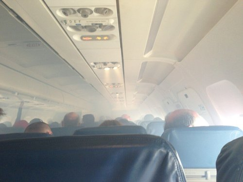 A photo of the cabin of Delta flight 1158 on Saturday morning, posted to Twitter by passenger Blake Scarbrough.