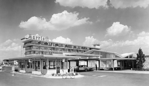 The Twin Bridges Marriott in Arlington, Va. In 1957, John Willard Marriott and Alice Sheets Marriott opened their first hotel – the Twin Bridges Motor Hotel in Arlington, Va. But it was their son Bill who transformed the company into a global hotel giant. (AP Photo/Marriott International, Inc.)