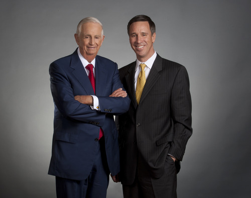 This undated photo provided by Marriott International Inc., shows outgoing Marriott International CEO , J.W. Marriott Jr. (left) and his replacement, Arne Sorenson who will be only the third CEO in the companyís 85-year-history and the first one not named Marriott. (AP Photo/Marriott International Inc.)