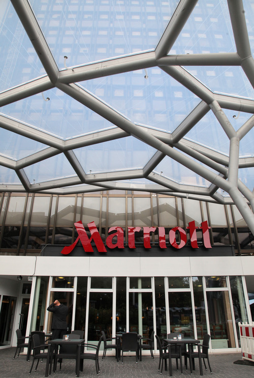 The Frankfurt Marriott Inc. Hotel, site of the Banks in Crisis (Banken im Umbruch) conference, stands in Frankfurt, Germany, on Thursday, Sept. 9, 2010. Marriott International Inc. is the largest U.S. hotel chain. Hannelore Foerster/Bloomberg