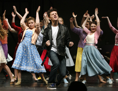 """Scott Sommerdorf      The Salt Lake Tribune Zach Garside plays the role of """"Chad"""" in rehearsal of """"All Shook Up"""" at Herriman High on Friday. Herriman High educators received international press when they canceled the production of All Shook Up, but then reinstated it with changes to an Elvis song."""