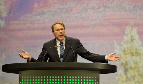 Lennie Mahler  |  The Salt Lake Tribune National Rifle Association Vice President Wayne LaPierre speaks to a crowd at the Western Hunting and Conservation Expo Banquet at the Salt Palace Convention Center in Salt Lake City, Saturday, Feb. 23, 2013.